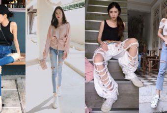 """รวมวิธีใส่ กางเกงยีนส์ขาดๆ ยังไงให้เก๋ เริ่ด! กับ """"Ripped Jeans"""""""