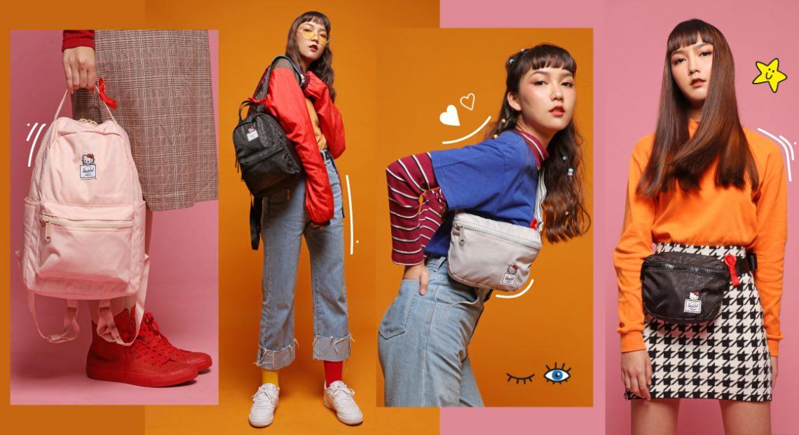 ครีเอทลุคสีสันสดใสสไตล์ 70 กับไอเท็มสุดน่ารัก กระเป๋า Herschel x Hello Kitty